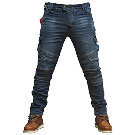 Waist 33 Mens Motorcycle Jean Pants Protection Lining Motorbike Trousers with 2 Pair Protect Pads Jeans Blue Colour M-