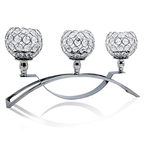 Joynest Crystal Candle Holders with 3 Arms, Wedding Coffee Table Decorative Centerpiece Candelabra, Tealight Candlestick Holder for Home Valentines Day Decoration/Birthday (Silver)