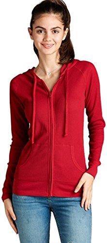 red hooded zip up sweatshirt - 3