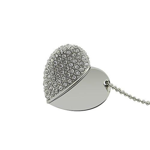 CHUYI Heart Shape 32GB USB 2.0 Flash Drive Pen Drive Memory Stick USB Stick Necklace Diamond Jewelry Silver (Heart Ultra Necklace Diamonds)