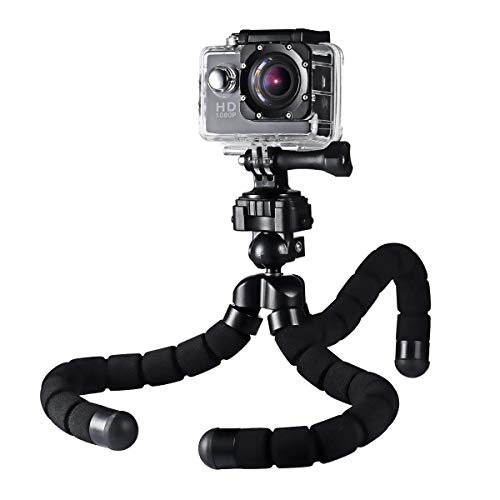 AUKEY Camera Tripod Mini Flexible Compact 360 Degrees with 1/4' Screw Phone Holder for Smartphones, Video Stand for GoPro, DSLR Digital Camera and More
