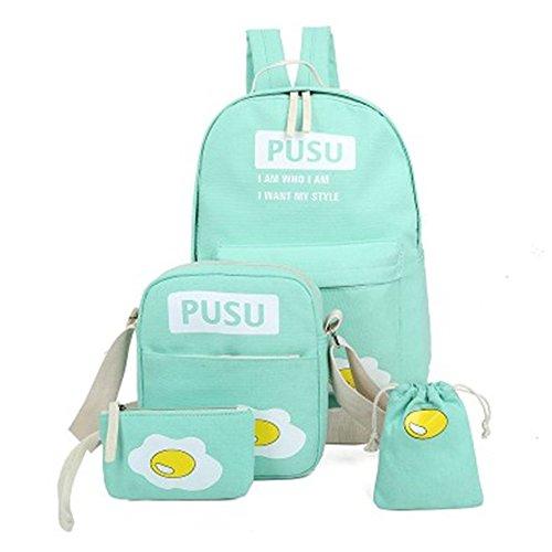 Donna Zainetti Verde Superiore Tela Minetom Ragazze Uovo 4 Piccole Messenger Tasche Spalla Clutch Bag Borsa Scuola Zaini Pezzi Zainetto qU60vqZ