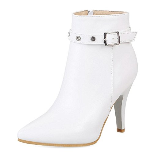 Onewus Fashion Ankle Boots with Kitten Heel and Pointed Toe All Match Working Boots for Fashion Women White