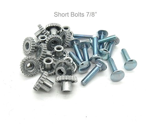"""Pet Carrier Metal Fasteners Nuts Bolts (7/8"""" Short Bolts, 16 Pack)"""