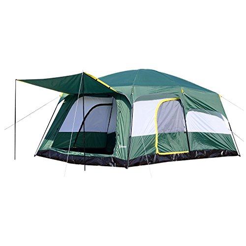 🥇 Outsunny Tienda de Campaña Familiar 8-10 Personas Carpa Grande Acampada Tipo Refugio para Playa Picnic Portátil y Impermeable con Bolsa de Transporte Mosquitera Protección Solar UV 4.3x3x2m
