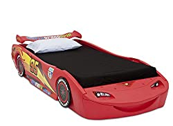Delta Children Cars Lightning Mcqueen Twin Bed with Lights,...