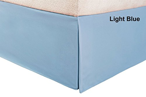 Bedskirt Detachable Cotton (KN Linen !! Solid Style !! 600 Thread Count 100% Egyptian Cotton One Piece Bed Skirt 18 inch Drop { King SIze } Light Blue Color ( Tailored Drop Pleated Bed Skirt ))