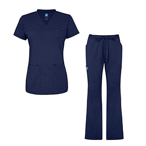 Adar Indulgence Jr. Fit Womens Scrub Set Curved V-Neck Medical Scrub Top and Scrub Pants - 4401 - Navy - M