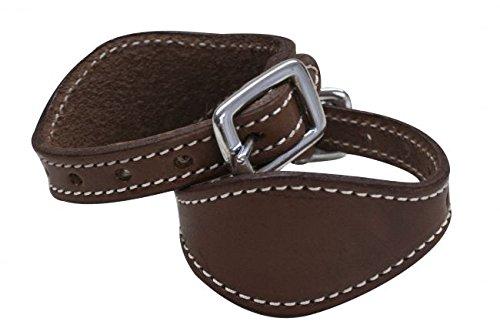 Stitched Leather Stirrup Hobbles Dark Brown