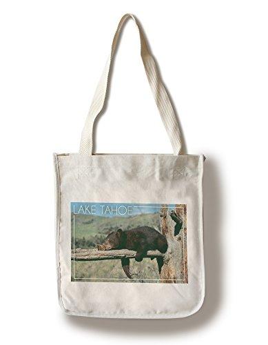 (Lantern Press Lake Tahoe, California - Bear Cub with Pinecone (100% Cotton Tote Bag -)
