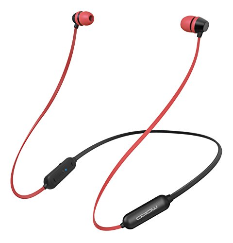 MoKo Bluetooth Headphones, Wireless Neckband Headset w/Mic & Siri IPX5 Waterproof HD Stereo Sweatproof In Ear Earbuds 9 Hour Battery Hands-free Calls Sports Earphones, New Red