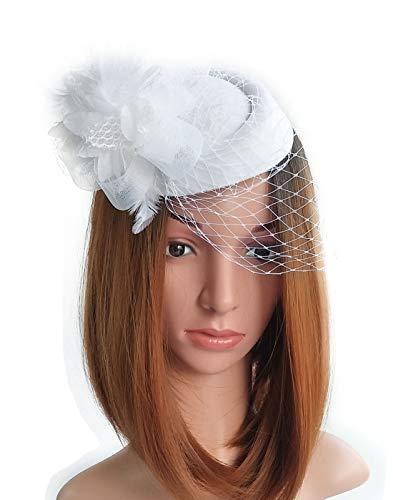 Fascinator Hats Pillbox Hat British Bowler Hat Flower Veil Wedding Hat Tea Party Hat (White) ()