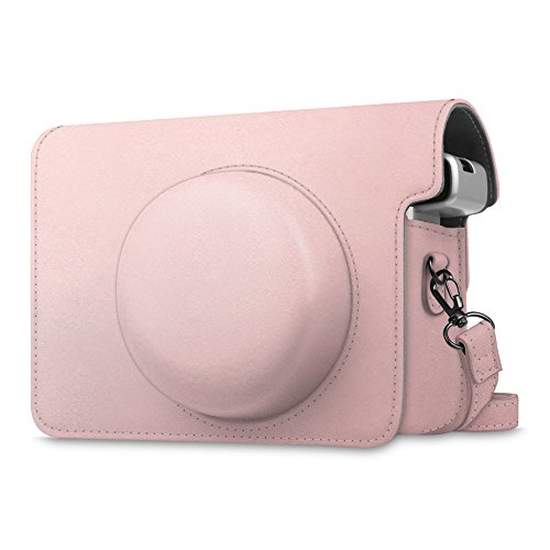 Camera In Case (Fujifilm Instax Wide 300 Case - Fintie Premium PU Leather Protective Bag Cover for Fujifilm Instax Wide 300 Instant Film Camera with Removable / Adjustable Strap, Rose Gold)