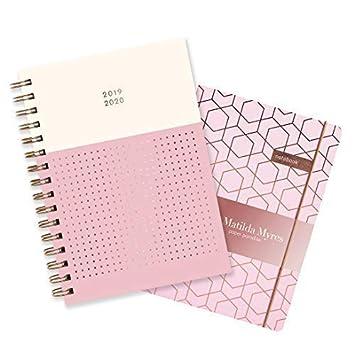 Matilda Myres - Agenda semanal de medio año 2019-20, de espiral, color oro rosa, A5, color Pink Set A5