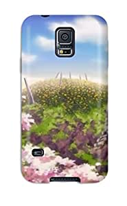 New Arrival RQXLGEs12125tONcT Premium Galaxy S5 Case(clouds Cherry Blossoms Hills Anime Cherry Tree Sun Rays Sun Flower)