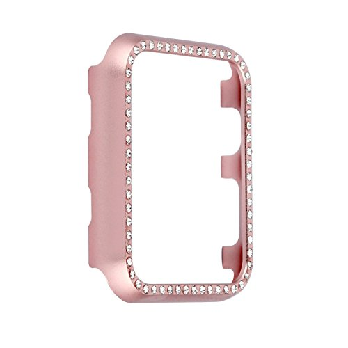 Smartwatch Bumper Case 42mm, Bling Crystal Rhinestone Diamond Aluminum Protective Frame Cover Compatible with 42mm Apple Watch Series 3, Series 2, Series 1 - Rose Gold
