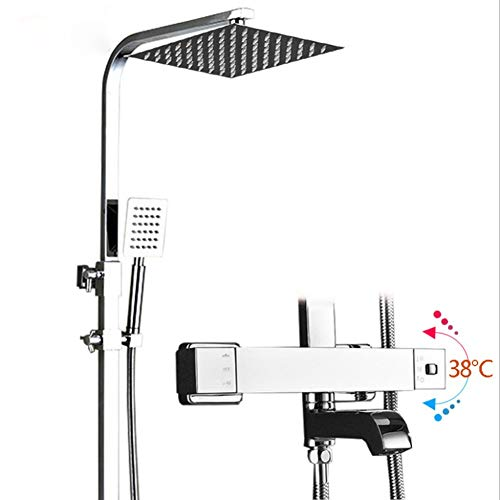 YYBFG Thermostatic Mixer Square Shower Head Bath Brass Valve Heart, Adjustable Height Exposed Riser Rail Shower Bar Hose All-in-One Chrome Rainfall Shower Mixer Set