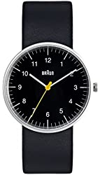 Braun Men's Analog Watch Black Face, Black Leather Band 38mm