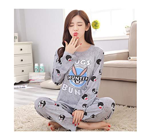 Hngchangji Spring Autumn Women Pyjamas Cartoon Printed Cute Pattern Pajamas Set Thin Pijamas Mujer Sleepwear Long Sleeve Nightgown Q hui ba ge M