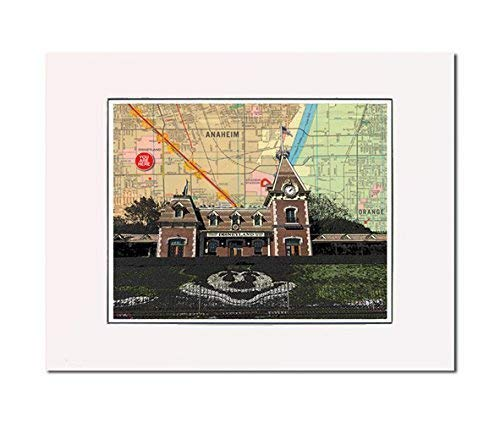 Anaheim Front Entrance and Railroad Station Disneyland Fan Art Fine Print. You Are Here. Gallery Quality. Matted at 14 inches x 11 inches and Ready to Frame.
