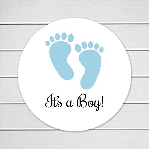 (1.5 Inch It's a Boy Stickers, Baby Boy Shower Stickers, 60 ct (#208-SB))