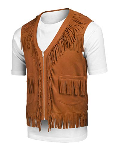 COOFANDY Mens Fringe Vest Hippie Costume Casual Western V Neck Zipper Suede Leather Waistcoat -