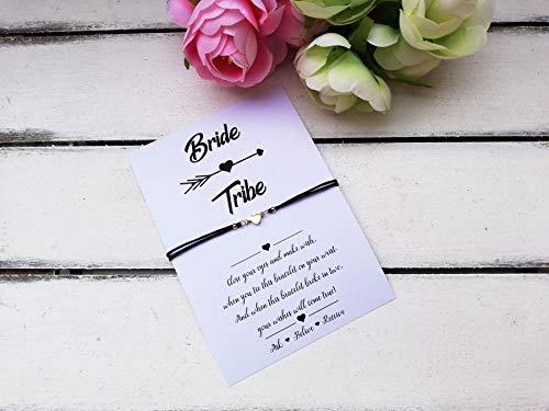 (Bride tribe Wish String Bracelet, bridesmaid gift, maid of honor, flower girl, bride shower, Wish Charm)