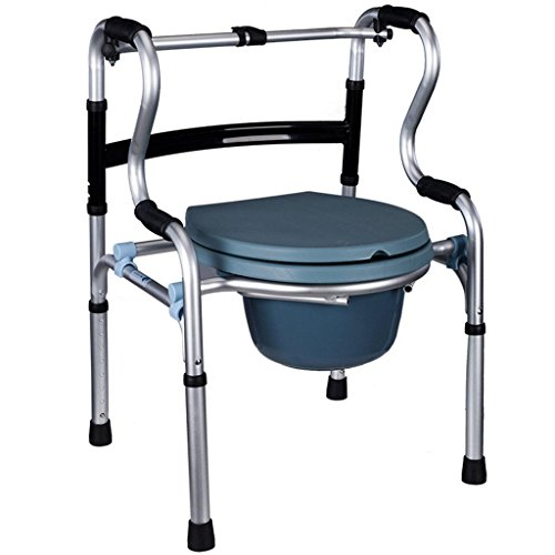 Bedside Commode Sitting Toilet Chair Aluminum Alloy Foldable Disabled Elderly Pregnant Women Wheeled Toilet Seat by jiaminmin