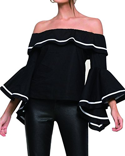 Tempt Shoulder Sleeve Ruffle Blouse