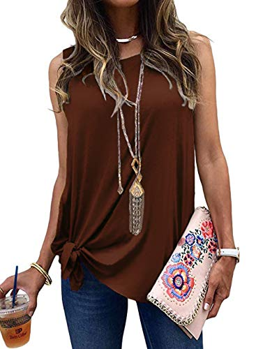 Allimy Women Summer Clothes Casual Knot Front Sleeveless Blouses Tee Shirts Tank Tops Brown Small