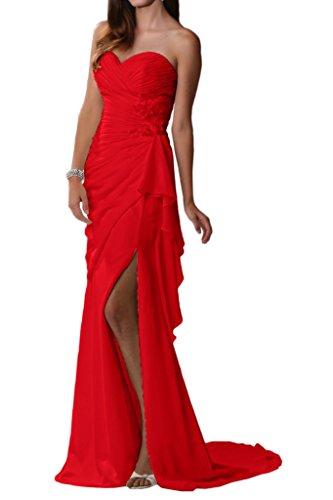 Elegant La Chiffon Traegerlos Schlitz Brautjungfernkleider Abendkleider Partykleider Braut Sexy Beige mia Rot EBwgB