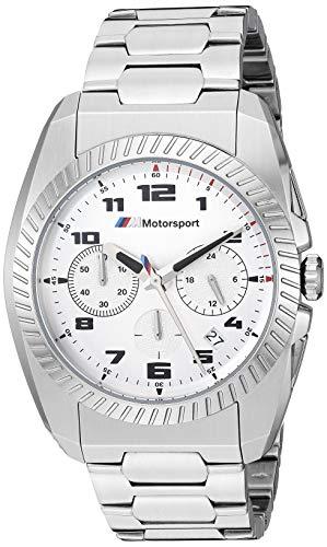 BMW Men's M Motorsport Quartz Watch with Stainless-Steel Strap, Silver, 22 (Model: BMW3001) (Avigo 6v Bmw X5 Black With Remote)