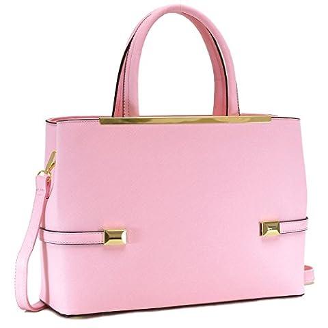 MKY Women Leather Tote Briefcase Laptop and Tablet Bag Large Handbag w/ Removable Shoulder Strap - Pink Laptop Tote