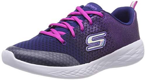 Skechers Kids Girl's GO Run 600-SPARKLE Speed Shoe, Navy/Pink, 13 Medium US Little Kid ()