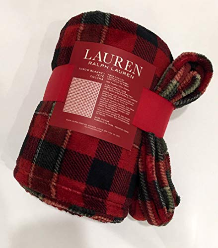 Ralph Lauren Holiday Red, Green, and Black Tartan Plaid Plush Throw Blanket