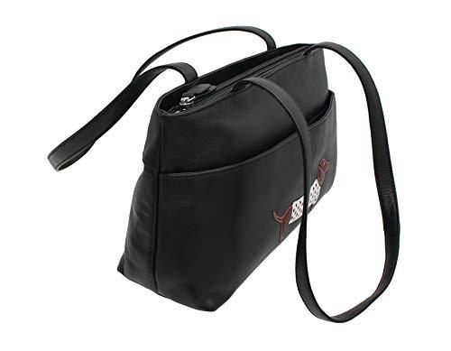 Para 65 Leather Bolso Negro 7143 negro Mala Hombro Al Mujer gqnCI
