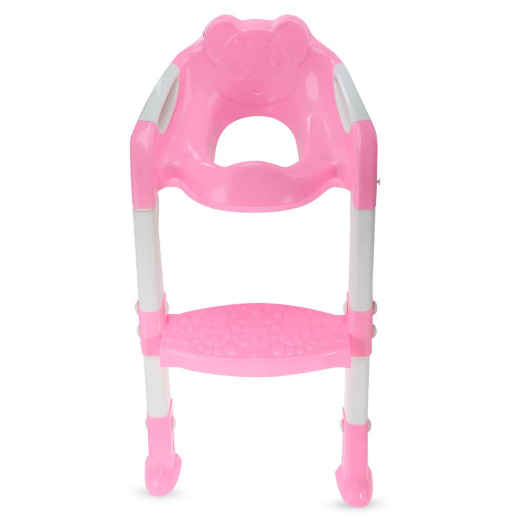 Toxz Baby Child Potty Toilet Trainer Seat Step Stool Ladder Adjustable Training Folding Multistep Chair,Anti-Slip Rubber,Environmental Friendly PP Material(Ship from US!)