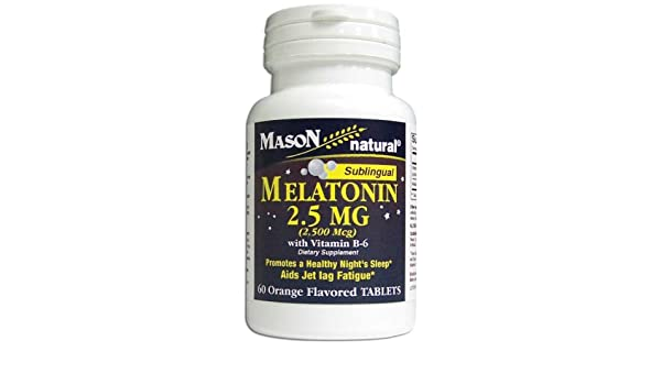 Amazon.com: Mason Natural Melatonin, 2.5mg with Vitamin B-6, Sublingual Tablets, Orange, 60 ea: Health & Personal Care