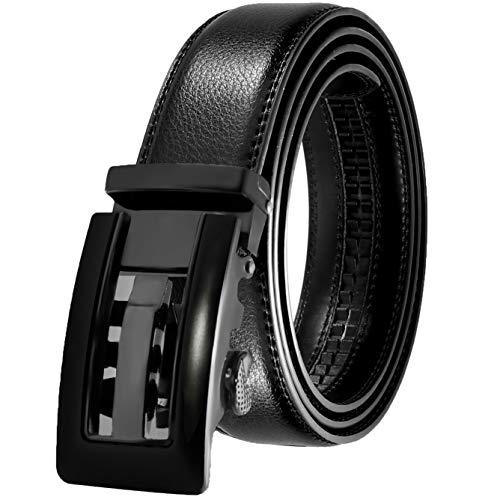 JINIU Men's Leather Belt Automatic Buckle 35mm Ratchet Dress Black Belts Boxed KT2 One Size (Men Ratchet Belt)
