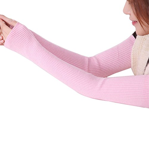 LerBen Women's Cashmere Warm Fingerless Gloves Winter Long Arm Warmer (Warmers Pink Arm)