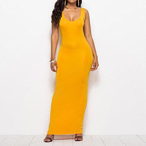 Sin L Chic redondo Moda mangas o Elegante Mujeres Cuello Slim Falda Adeshop grande Color Tama ajustada puro Vestido TvWwqB0