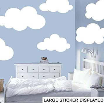 Beautiful Clouds Pack Of 6 Wall Art Vinyl Stickers   White   Large Pack Size 110cm X Part 12