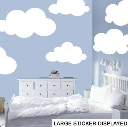 Clouds Pack of 6 Wall Art Vinyl Stickers - White - Large Pack Size ...
