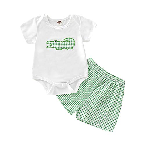 2Pcs/Set Infant Baby Boys Summer Crocodile Print Romper and Green Plaid Shorts Outfits Set (White, 12-18 Months)