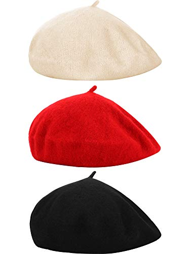 (Hestya 3 Pieces Beret Hat French Style Beanie Cap Solid Color Winter Hat for Women and Girls Casual Use (S (Kids Size), Color Set 2))