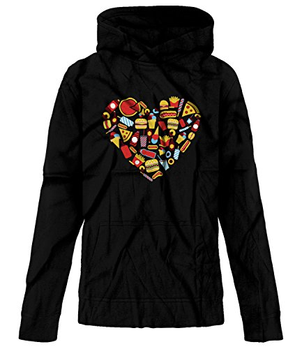 Price comparison product image BSW Youth Girls Fast Food Heart Love Burger Pizza Fries Theme Hoodie XL Black
