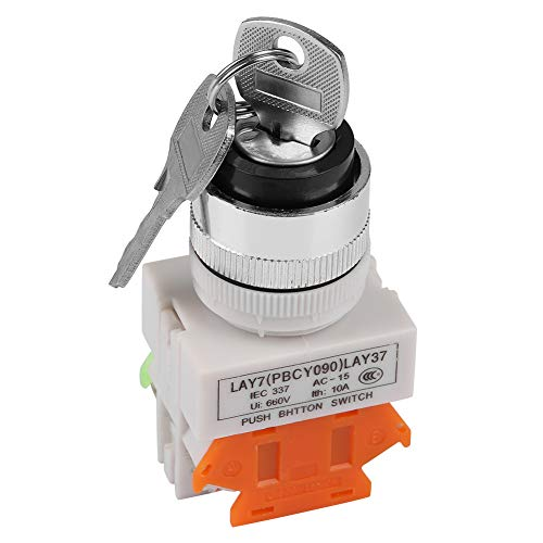 220V 2 Position Key Operated Rotary Switch Plastic Key Operate Push Button with 2 Keys 22mm Mount LAY37-11Y/21