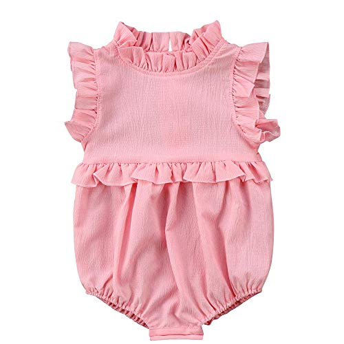 - Moolia Infant Baby Girl Lightweight One-Piece Summer Ruffles Romper Clothing Sunsuit (90(12-18M), Pink)