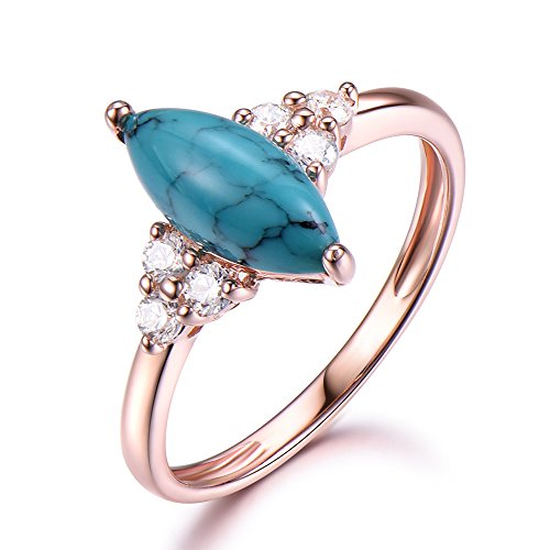 Black Blue Turquoise Engagement Ring 5x10mm Marquise Cut 925 Sterling Silver Rose Gold Plated CZ Diamond by Milejewel Turquoise engagement rings