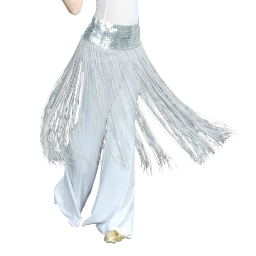 BellyLady Belly Dance Hip scarf, Sequined Fringe Skirt Wrap, Christmas Idea SILVER ()